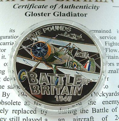 2010 Guernsey Battle of Britiain Silver Proof £5 Coin - Gloster Gladiator
