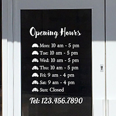 Shop & Store Operating Hours - Shop Open and Close times - Custom made