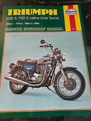 haynes workshop manual  triumph 650 750 2 valve unit twins motorcycles 1963 1983
