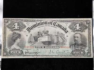 1902 Dominion of Canada $4 Four Dollar Banknote Rarer Type