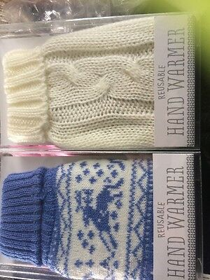 His & Hers Reusable Hand Warmers - Cream & Blue Snowflake Design