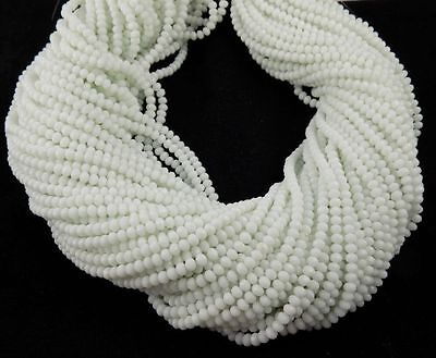 """5 Strand White Moonstone Chalcedony Hydro 4mm Faceted Rondelle Gemstone 15"""" Long"""