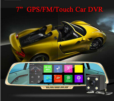 """Android 7"""" HD 1080P Dual Lens Car DVR Camera Rearview Mirror Wifi GPS Navigation"""