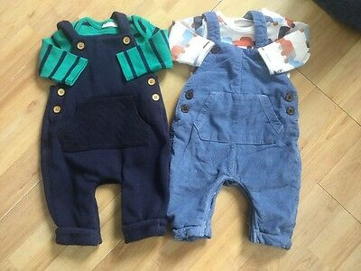 Next Baby Boys Soft Dungarees Sets Bundle 0-3 Months Cars , Striped