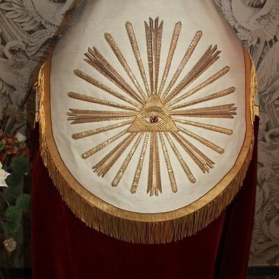 Antique Late 1800's Red Velvet Priest Cope,Gold Metallic Almighty Eye