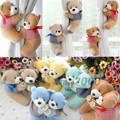 2Pcs Baby Bedroom Plush Bear Curtain Tieback Holder Hook Buckle Decor