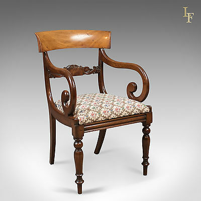 Antique Scroll Arm Chair, Regency Mahogany, English, Desk, Hall, Bedroom c.1830