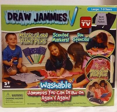 Draw Jammies Blue Set of Pajamas Lg Age 7-9 Glow Paint Pens & Markers New NIB