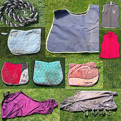 Horse riding equipment, Gilets, Rugs, Saddle cloths, crop, lead rope + more
