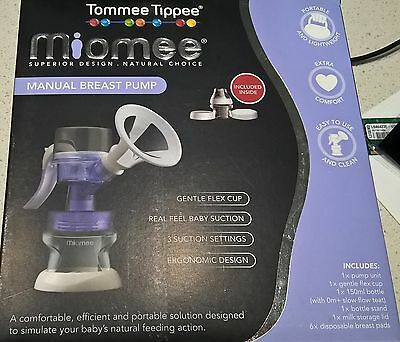 Tommee Tippee Miomee Manual Breast Pump Bottle Teat Stand 6 x Pads 0m+ slow flow