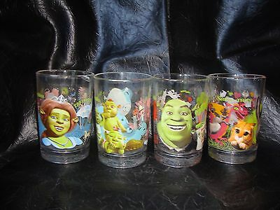 DreamWorks Shrek The Third McDonalds 2007 Collectible Glasses Complete Set of 4
