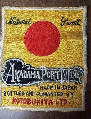 "RARE AKADAMA PORT WINE - MADE IN JAPAN - BOTTLED BY KOTOBUKIYA LTD 5"" x 4"" PATCH"
