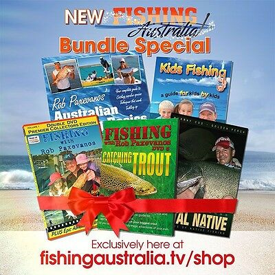Fishing Australia Special Bundle  Book + 3 dvd's, New Kids Fishing Book + Hat