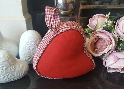 Shabby Chic Red Heart Shaped Door Stop With Red Gingham Detail