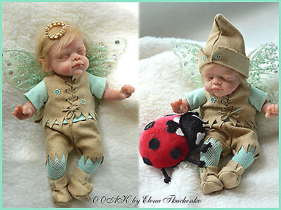 Flavored gentle elf сollectible OOAK Doll Sculpt Polymer Clay 7,3 in