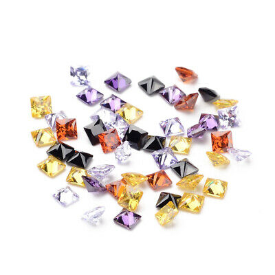 50pcs Mixed Grade A Square Shaped Cubic Zirconia Pointed Back Cabochons 3mm