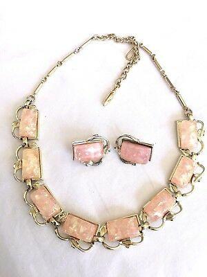 Vintage Coro Peachy Pink Confetti Lucite Thermoset Necklace Earrings Set