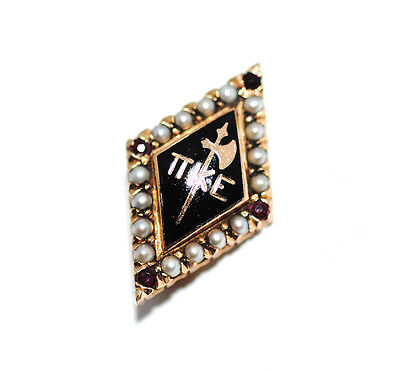 14K Gold Fraternity Pin Pi Kappa Epsilon Pearls Garnets Enamel Vtg 4g Not Scrap