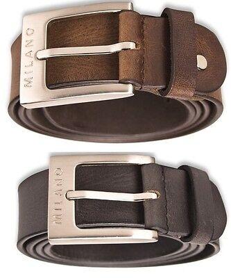 Milano Mens 1.25Inch Real Full Grain Leather Belts Silver Buckle Black Brown2910