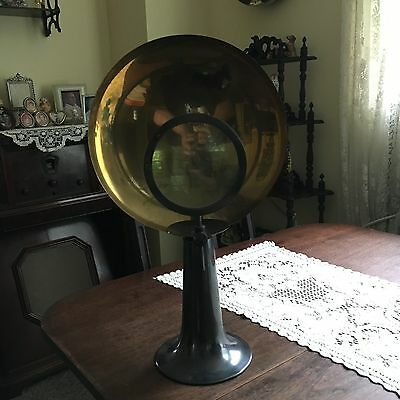 Antique Parabolic Medical Sconce/Magnifier Candle Holder With Magnifying Lens
