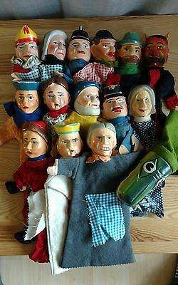FREE shipping  CARVED Antic Wooden PUNCH & JUDY Puppets COMPLETE SET15/ Germany