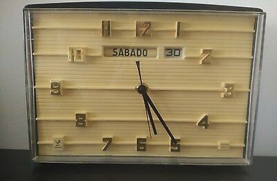 JAZ TRANSIRTOR Reloj de pared vintage calendario Wall Clock FUNCIONANDO M.France