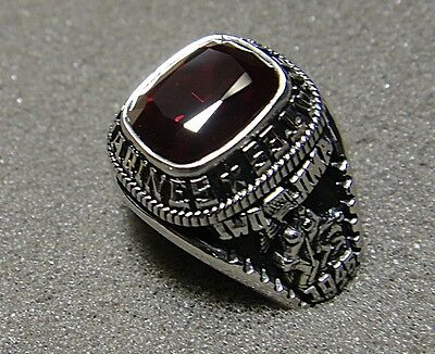 Jostens U.S. Marine Corps Men's Ring by Jostens with Red Stone, Size 10.5