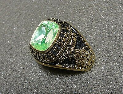 Men's U.S. Marine Corps Ring by Jostens with Light Green Stone, Size 12.5