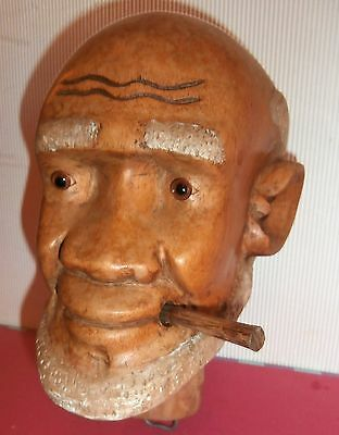 FREE shipping/ANTIQUE wooden caved MAN head Human size STORE DIPSLAY glass eyes