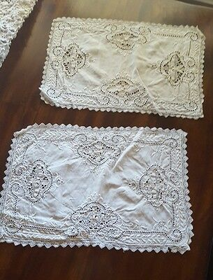 "Two Antique Vintage ♡ Lace Dresser Table Dollies ♡ 16.5"" X 11"". Fabulous Piece"