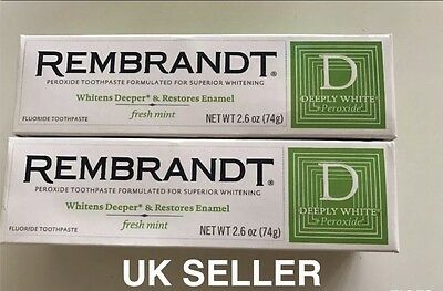 2 x 74g Rembrandt Deeply White + Whitening Toothpaste with Fluoride Fresh Mint