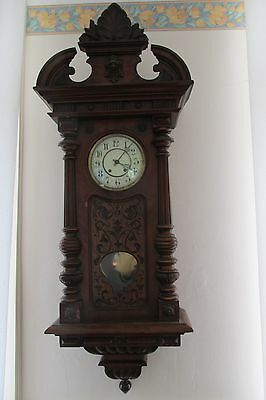 8day  German Vienna style  quarter striking ting/tang  pendulum wall clock.