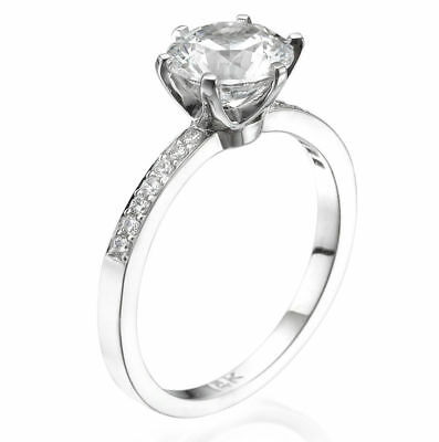 1.25 Ct D/SI1 Round Cut Diamond Solitaire Engagement Ring Enhanced 14K