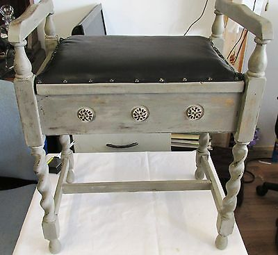 Shabby Chic Piano Stool with storage new leather top in Gold and Grey
