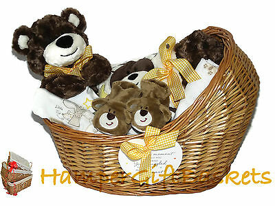 "Baby Gift Basket/Hamper, Baby Boy, Baby Girl, ""Little Miracles"" Wicker Crib"