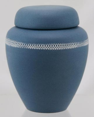 "Denver White 5.25"" Lidded Jar In Matte Blue Glaze W/white Decorative Trim Mint"