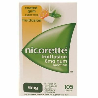Nicorette Fruitfusion 6mg gum 105 Pieces 1 2 3 6 12 Packs