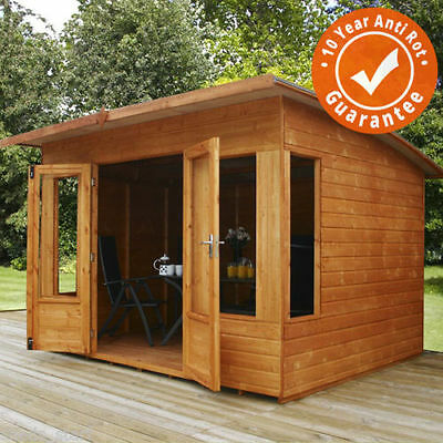 8x8 Wooden Summerhouse Helios Summer House Shiplap T&G with Sloped Roof & Felt