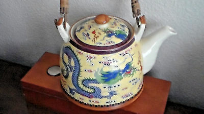 Vintage Japanese or Korean, Beautifully Detailed BLUE DRAGON Teapot