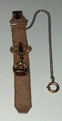Antique Victorian Gold Filled Amethyst Mesh Vest Clip Watch Fob