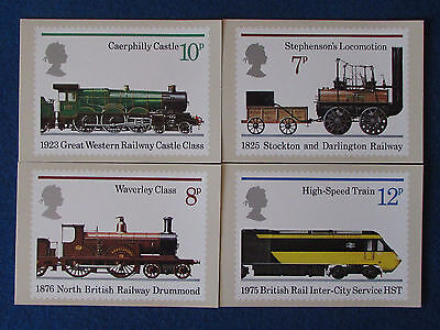 Post Office Postcards - Set of 4 - Trains -1975 -150th Anniversary Steam Railway