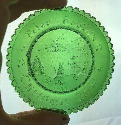 1995 Green PETER RABBITS CHRISTMAS CAROL Glass Cup Plate Pairpoint T W Burgess