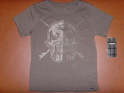 New Hurley Kids/Boys Short Sleeve Brown T-Shirt Top Size 5