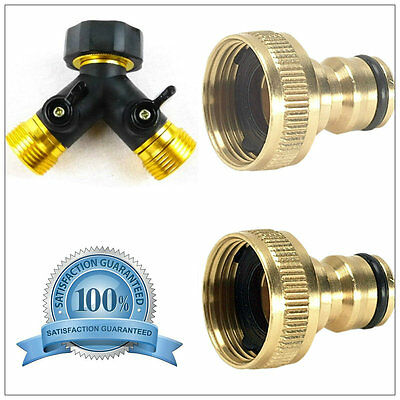 3/4'' Two Way Double Twin Tap Garden Hose Pipe Splitter Connector Tap Adaptor