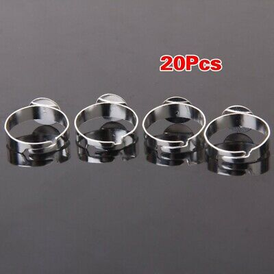 20pcs Silver Color Blank Adjustable Ring With 10mm Pad T9R6