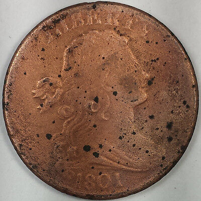 1801 Draped Bust Large Cent - Key Date Us Coin