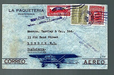 Guatemala air mail flight cover 1936 commcial  (x165)