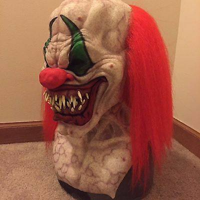 Immortal clown silicone halloween mask prop with hair realistic scary like spfx