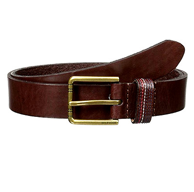 $199 TOMMY HILFIGER Mens BROWN LEATHER STRAP BUCKLE CASUAL STITCHED BELT SIZE 40
