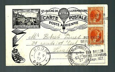 Luxembourge exhibition card air mail 1927 baloon Roodt cancel  (x076)